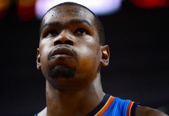 MIAMI, FL - JUNE 21:  Kevin Durant #35 of the Oklahoma City Thunder looks on in the second half against the Miami Heat in Game Five of the 2012 NBA Finals on June 21, 2012 at American Airlines Arena in Miami, Florida. NOTE TO USER: User expressly acknowle