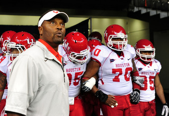 NEW ORLEANS, LA - NOVEMBER 10:  Kevin Sumlin, head coach of the University of Houston Cougars waits to take the field against the Tulane Green Wave at the Mercedes-Benz Superdome on November 10, 2011 in New Orleans, Louisiana.  (Photo by Stacy Revere/Gett
