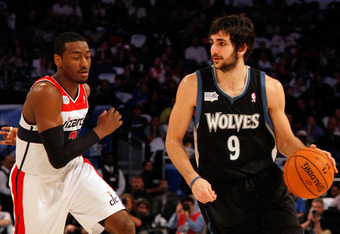 ORLANDO, FL - FEBRUARY 24:  Ricky Rubio #9 of the Minnesota Timberwolves and Team Shaq drives against John Wall #2 of the Washington Wizards and Team Chuck during the BBVA Rising Stars Challenge part of the 2012 NBA All-Star Weekend at Amway Center on Feb
