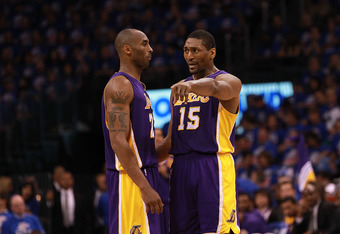 OKLAHOMA CITY, OK - MAY 21:  Kobe Bryant #24 of the Los Angeles Lakers and Metta World Peace #15 during Game Five of the Western Conference Semifinals of the 2012 NBA Playoffs at Chesapeake Energy Arena on May 21, 2012 in Oklahoma City, Oklahoma.  NOTE TO