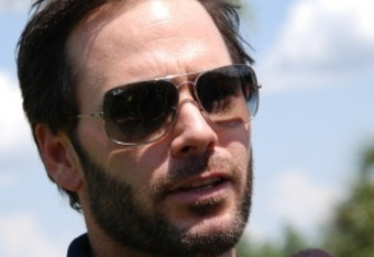 Jimmie Johnson talks with media at Disney World recently.  Credit: Dwight Drum