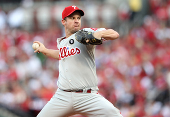 ST LOUIS, MO - OCTOBER 05:  Starting pitcher Roy Oswalt #44 of the Philadelphia Phillies on the mound in the first inning against the St. Louis Cardinals in Game Four of the National League Division Series at Busch Stadium on October 5, 2011 in St Louis,
