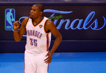 OKLAHOMA CITY, OK - JUNE 14:  Kevin Durant #35 of the Oklahoma City Thunder reacts after making a three-pointer late in the fourth quarter against the Miami Heat in Game Two of the 2012 NBA Finals at Chesapeake Energy Arena on June 14, 2012 in Oklahoma Ci
