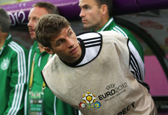 GDANSK, POLAND - JUNE 22: Thomas Muller of Germany looks on during the UEFA EURO 2012 quarter final match between Germany and Greece at The Municipal Stadium on June 22, 2012 in Gdansk, Poland.  (Photo by Joern Pollex/Getty Images)