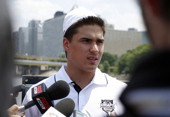 PITTSBURGH, PA - JUNE 21:  Top NHL prospect Nail Yakupov speaks to the media during media availability on the Gateway Clipper Express on June 20, 2012 in Pittsburgh, Pennsylvania.  (Photo by Justin K. Aller/Getty Images)