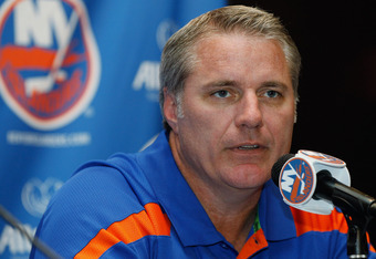 UNIONDALE, NY - SEPTEMBER 15:  Islanders General Manager Garth Snow speaks to the media during a press conference to announce center John Tavares has signed a six-year contract extension with the New York Islanders on September 15, 2011 at the Nassau Coli