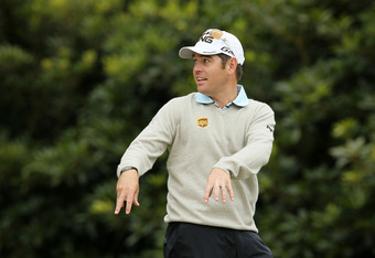 SAN FRANCISCO, CA - JUNE 13: Louis Oosthuizen of South Africa reacts during a practice round prior to the start of the 112th U.S. Open at The Olympic Club on June 13, 2012 in San Francisco, California.  (Photo by Jeff Gross/Getty Images)
