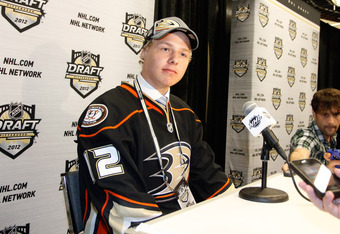 PITTSBURGH, PA - JUNE 22: Hampus Lindholm, sixth overall pick by the Anaheim Ducks, speaks to media during Round One of the 2012 NHL Entry Draft at Consol Energy Center on June 22, 2012 in Pittsburgh, Pennsylvania.  (Photo by Justin K. Aller/Getty Images)