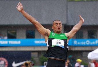 Eaton in midst of his 27-foot long jump