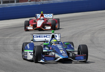WEST ALLIS, WI - JUNE 16: Tony Kanaan of Brazil, driver of the #11 GEICO/Mouser Electronics KVRT Racing Technology Chevrolet Dallara, drives to a second place finish during the IZOD IndyCar Series Milwaukee Indy Fest 225 at The Milwaukee Mile on June 16,