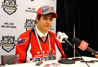 PITTSBURGH, PA - JUNE 23: Connor Carrick, 137th overall pick by the Washington Capitals, speaks to the media during day two of the 2012 NHL Entry Draft at Consol Energy Center on June 23, 2012 in Pittsburgh, Pennsylvania.  (Photo by Justin K. Aller/Getty
