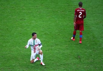 WARSAW, POLAND - JUNE 21:  Cristiano Ronaldo of Portugal celebrates victory and progress to the semi-finals during the UEFA EURO 2012 quarter final match between Czech Republic and Portugal at The National Stadium on June 21, 2012 in Warsaw, Poland.  (Pho