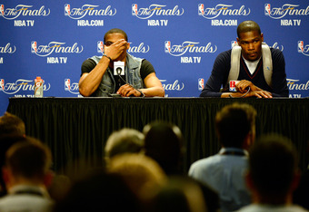 MIAMI, FL - JUNE 21:  (L-R) Russell Westbrook #0 and Kevin Durant #35 of the Oklahoma City Thunder look on dejected during their post game press conference against the Miami Heat  in Game Five of the 2012 NBA Finals on June 21, 2012 at American Airlines A