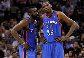 James Harden and Kevin Durant were both frustrated by Miami's defense.