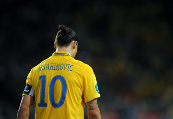 KIEV, UKRAINE - JUNE 15:  Zlatan Ibrahimovic of Sweden looks on during the UEFA EURO 2012 group D match between Sweden and England at The Olympic Stadium on June 15, 2012 in Kiev, Ukraine.  (Photo by Christopher Lee/Getty Images)