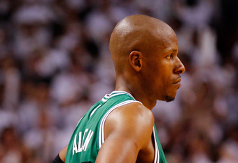MIAMI, FL - JUNE 09:  Ray Allen #20 of the Boston Celtics looks on in the fourth quarter while taking on the Miami Heat in Game Seven of the Eastern Conference Finals in the 2012 NBA Playoffs on June 9, 2012 at American Airlines Arena in Miami, Florida. N