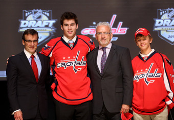 PITTSBURGH, PA - JUNE 22:  Thomas Wilson (2nd L), 16th overall pick by the Washington Capitals, poses on stage with Capitals representatives during Round One of the 2012 NHL Entry Draft at Consol Energy Center on June 22, 2012 in Pittsburgh, Pennsylvania.