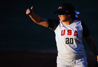 GUADALAJARA, MEXICO - OCTOBER 17:  Valerie Arioto of the United States of America reacts during the Softball Preliminary Round match between the United States of America and Venezuela during Day Three of the XVI Pan American Games at CODE Alcalde on Octob