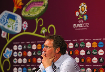 DONETSK, UKRAINE - JUNE 23:  In this handout image provided by UEFA, Coach Laurent Blanc of France talks to the media after the UEFA EURO 2012 Quarter Final match between Spain and France on June 23, 2012 in Donetsk, Ukraine.  (Photo by Handout/UEFA via G