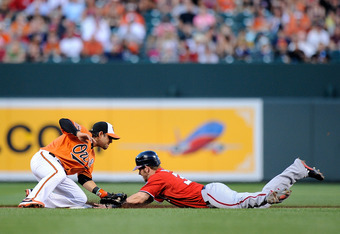 Bryce Harper steals second against the O's in the Nats 3-1 win.
