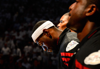 MIAMI, FL - JUNE 21:  LeBron James #6 of the Miami Heat stands with his head down during pregame festivities against the Oklahoma City Thunder in Game Five of the 2012 NBA Finals on June 21, 2012 at American Airlines Arena in Miami, Florida. NOTE TO USER: