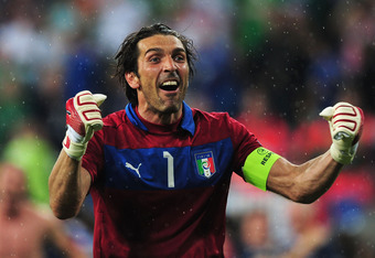 POZNAN, POLAND - JUNE 18:  Gianluigi Buffon of Italy celebrates victory and progress to the quarter finals during the UEFA EURO 2012 group C match between Italy and Ireland at The Municipal Stadium on June 18, 2012 in Poznan, Poland.  (Photo by Jamie McDo