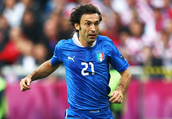 POZNAN, POLAND - JUNE 14:  Andrea Pirlo of Italy runs with the ball during the UEFA EURO 2012 group C match between Italy and Croatia at The Municipal Stadium on June 14, 2012 in Poznan, Poland.  (Photo by Clive Mason/Getty Images)