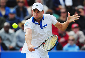 EASTBOURNE, ENGLAND - JUNE 23:  Andy Roddick of USA plays a backhand against  Andreas Seppi of Italy in the Men's Final during the AEGON International at Devonshire Park  on June 23, 2012 in Eastbourne, England.  (Photo by Mike Hewitt/Getty Images)