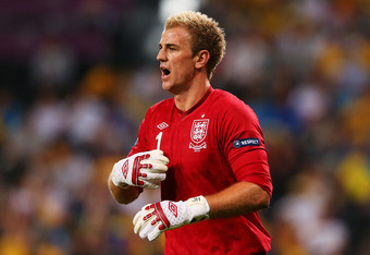 DONETSK, UKRAINE - JUNE 19:  Joe Hart of England in action during the UEFA EURO 2012 group D match between England and Ukraine at Donbass Arena on June 19, 2012 in Donetsk, Ukraine.  (Photo by Alex Livesey/Getty Images)