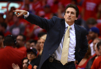 LOS ANGELES, CA - MAY 20:  Head coach Vinny Del Negro of the Los Angeles Clippers reacts in the second half while taking on the San Antonio Spurs in Game Four of the Western Conference Semifinals in the 2012 NBA Playoffs on May 20, 2011 at Staples Center