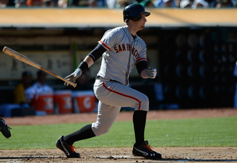 Brandon Belt, let's one rip against Oakland.