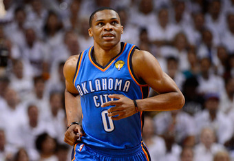 MIAMI, FL - JUNE 21:  Russell Westbrook #0 of the Oklahoma City Thunder runs up court against the Miami Heat in Game Five of the 2012 NBA Finals on June 21, 2012 at American Airlines Arena in Miami, Florida. NOTE TO USER: User expressly acknowledges and a
