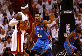MIAMI, FL - JUNE 19:  Kevin Durant #35 of the Oklahoma City Thnder defends in the second half against LeBron James #6 of the Miami Heat in Game Four of the 2012 NBA Finals on June 19, 2012 at American Airlines Arena in Miami, Florida. NOTE TO USER: User e