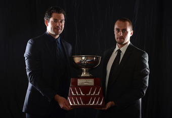 LAS VEGAS, NV - JUNE 20:  Brian Elliott and Jaroslav Halak of the St. Louis Blues pose after winning the William M. Jennings Trophy during the 2012 NHL Awards at the Encore Theater at the Wynn Las Vegas on June 20, 2012 in Las Vegas, Nevada.  (Photo by Ha