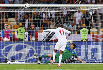 KIEV, UKRAINE - JUNE 24:  Ashley Young of England misses his penalty in a shootout during the UEFA EURO 2012 quarter final match between England and Italy at The Olympic Stadium on June 24, 2012 in Kiev, Ukraine.  (Photo by Alex Livesey/Getty Images)