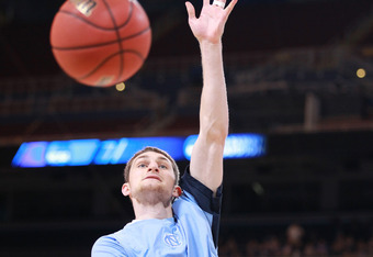 ST LOUIS, MO - MARCH 25:  Tyler Zeller #44 of the North Carolina Tar Heels warms up against the Kansas Jayhawks during the 2012 NCAA Men's Basketball Midwest Regional Final at Edward Jones Dome on March 25, 2012 in St Louis, Missouri. Kansas won 80-67. (P