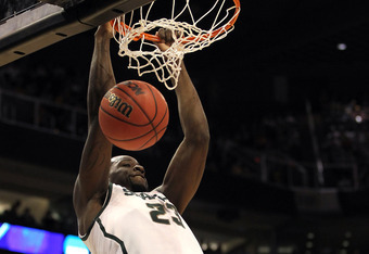 PHOENIX, AZ - MARCH 22:  Draymond Green #23 of the Michigan State Spartans dunks the ball in the first half against the Louisville Cardinals during the 2012 NCAA Men's Basketball West Regional Semifinal game at US Airways Center on March 22, 2012 in Phoen