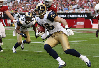 GLENDALE, AZ - DECEMBER 05:  Wide receiver Danny Amendola #16 of the St. Louis Rams runs with the football during the NFL game against the Arizona Cardinals at the University of Phoenix Stadium on December 5, 2010 in Glendale, Arizona. The Rams defeated t