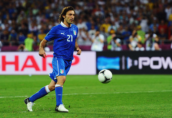 KIEV, UKRAINE - JUNE 24:   Andrea Pirlo of Italy chips the ball in the penalty shootout during the UEFA EURO 2012 quarter final match between England and Italy at The Olympic Stadium on June 24, 2012 in Kiev, Ukraine.  (Photo by Laurence Griffiths/Getty I