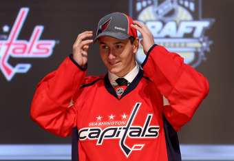 PITTSBURGH, PA - JUNE 22:  Filip Forsberg, 11th overall pick by the Washington Capitals, poses on stage during Round One of the 2012 NHL Entry Draft at Consol Energy Center on June 22, 2012 in Pittsburgh, Pennsylvania.  (Photo by Bruce Bennett/Getty Image