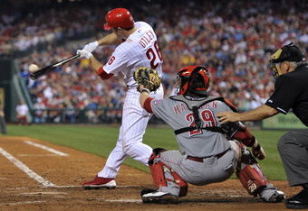 PHILADELPHIA, PA - MAY 23: Chase Utley #26 of the Philadelphia Phillies pops out in his first game back this season during the game against the Cincinnati Reds at Citizens Bank Park on May 23, 2011 in Philadelphia, Pennsylvania. Utley went 0-5 in during t