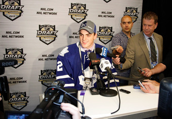 PITTSBURGH, PA - JUNE 23: Matthew Finn, 35th overall pick by the Toronto Maple Leafs, speaks to media during day two of the 2012 NHL Entry Draft at Consol Energy Center on June 23, 2012 in Pittsburgh, Pennsylvania.  (Photo by Justin K. Aller/Getty Images)