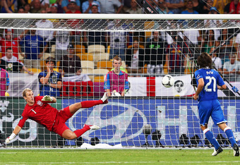 KIEV, UKRAINE - JUNE 24:  Andrea Pirlo of Italy chips the ball in the penalty shootout past Joe Hart of England during the UEFA EURO 2012 quarter final match between England and Italy at The Olympic Stadium on June 24, 2012 in Kiev, Ukraine.  (Photo by Al
