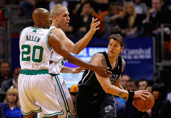 MIAMI, FL - APRIL 10: Mike Miller #13 of the Miami Heat is guarded by Ray Allen #20 and Greg Stiemsma #54 of the Boston Celtics during a game  at American Airlines Arena on April 10, 2012 in Miami, Florida. NOTE TO USER: User expressly acknowledges and ag