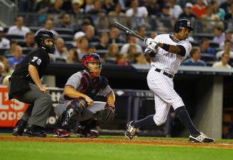 NEW YORK, NY - JUNE 18:  Curtis Granderson #14 of the New York Yankees in action against the Atlanta Braves during their game on June18, 2012 at Yankee Stadium in the Bronx borough of New York City.  (Photo by Al Bello/Getty Images)