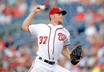 WASHINGTON, DC - JUNE 20:  Stephen Strasburg #37 of the Washington Nationals pitches against the Tampa Bay Rays at Nationals Park in interleague play on June 20, 2012 in Washington, DC.  (Photo by Greg Fiume/Getty Images)
