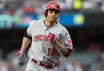 CLEVELAND, OH - JUNE 18: Joey Votto #19 of the Cincinnati Reds rounds third after hitting a solo home run during the first inning agains Cleveland Indians at Progressive Field on June 18, 2012 in Cleveland, Ohio. (Photo by Jason Miller/Getty Images)