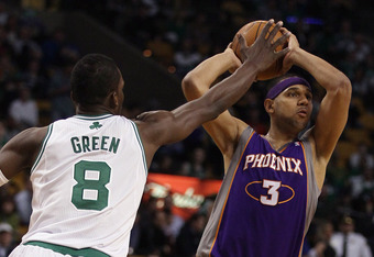 BOSTON, MA - MARCH 02: Jared Dudley #3 of the Phoenix Suns looks to pass as Jeff Green #8 of the Boston Celtics defends on March 2, 2011 at the TD Garden in Boston, Massachusetts.  The Celtics defeated the Suns 115-103. NOTE TO USER: User expressly acknow