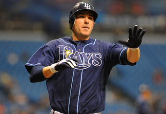 ST. PETERSBURG, FL - MAY 23:  Outfielder Matt Joyce #20 of the Tampa Bay Rays scores against the Toronto Blue Jays May 23, 2012  at Tropicana Field in St. Petersburg, Florida.  (Photo by Al Messerschmidt/Getty Images)