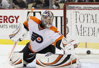 PITTSBURGH, PA - DECEMBER 29: Sergei Bobrovsky #35 of the Philadelphia Flyers protects the net against the Pittsburgh Penguins during the game at Consol Energy Center on December 29, 2011 in Pittsburgh, Pennsylvania. (Photo by Justin K. Aller/Getty Images